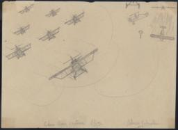 Air Battle With 7 Planes (moscas) On The Left, Two (panzers) On The Right, One In Flames And A Parachute