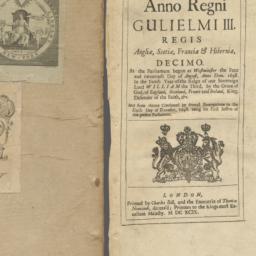 Anno regni Gulielmi III Reg...
