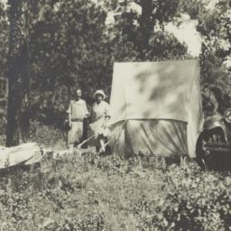 Two Women with Tent and Car...