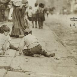 Children on Pavement, Backs...