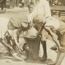 Boys around Fire Hydrant