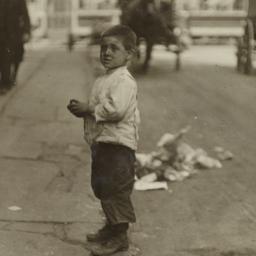 Boy on Curb near Horse Draw...