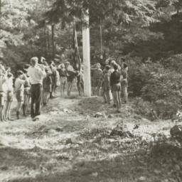 Boys Hanging Flag in the Woods