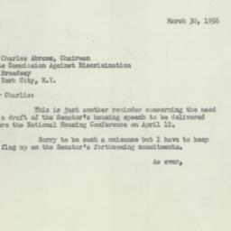 Letter: 1956 March 30