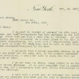 Letter : 1907 October 28