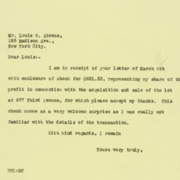 Letter: 1926 March 5