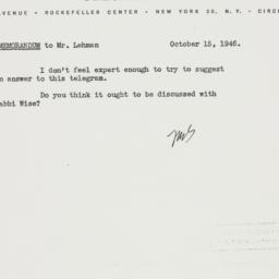 Letter: 1946 October 15