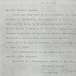 Letter: 1950 May 8