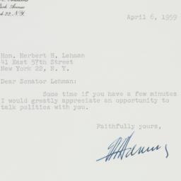 Letter: 1959 April 6