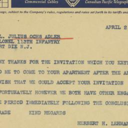 Telegram: 1941 April 2