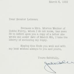 Letter : 1952 March 6