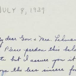 Letter: 1939 July 8