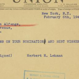 Telegram : 1941 February 6