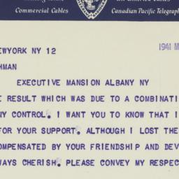 Telegram : 1941 March 12