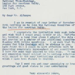 Letter: 1941 November 25