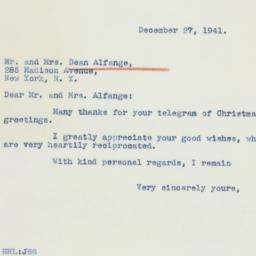Letter : 1941 December 27