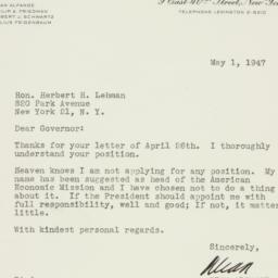 Letter: 1947 May 1
