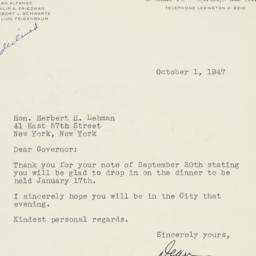 Letter: 1947 October 1