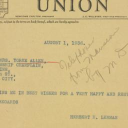 Telegram: 1936 August 1