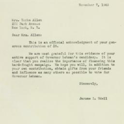 Letter: 1949 November 7