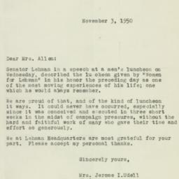Letter: 1950 November 3