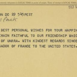 Telegram : 1963 March 29
