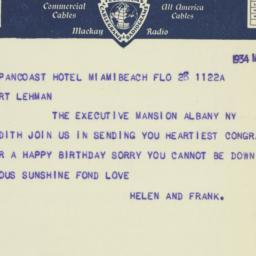 Telegram: 1934 March 28