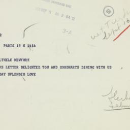 Telegram: 1958 September 8