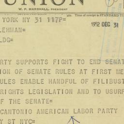 Telegram : 1952 December 31