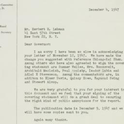Letter: 1947 December 4