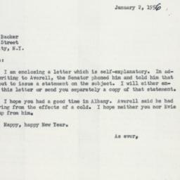 Letter: 1956 January 2