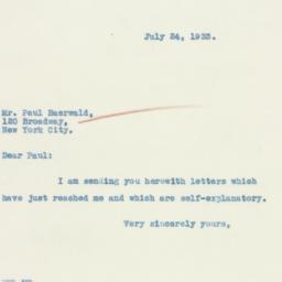 Letter : 1933 July 24