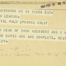 Telegram : 1963 February 12