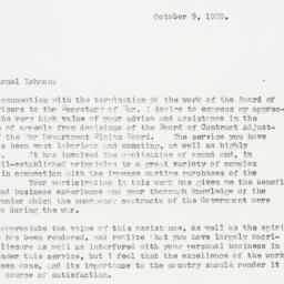 Letter : 1920 October 9