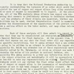 Memorandum: 1950 December 15