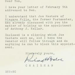 Letter: 1954 February 11