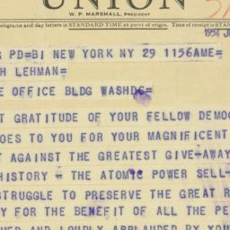 Telegram: 1954 July 29