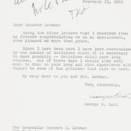 Letter: 1961 February 23