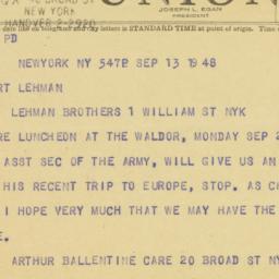 Telegram : 1948 September 13