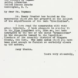 Letter : 1951 June 1