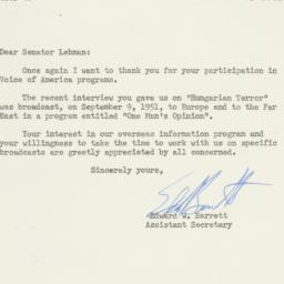 Letter : 1951 October 2
