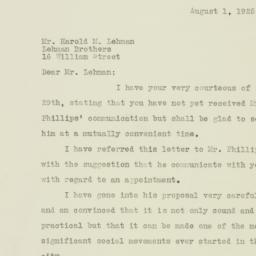 Letter : 1925 August 1