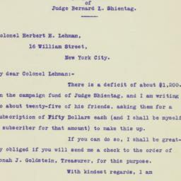 Letter: 1925 November 9