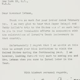 Letter : 1958 February 19