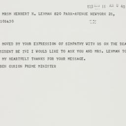 Telegram: 1963 May 11