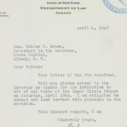 Letter : 1940 April 6