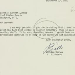Letter: 1951 September 13