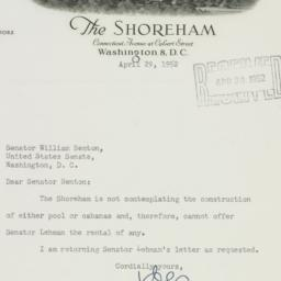 Letter: 1952 April 29