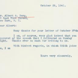 Letter : 1941 October 29