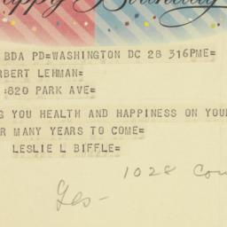 Telegram: 1957 March 28